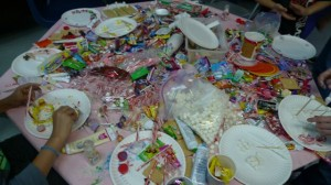 table loaded with candy