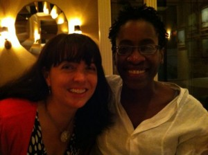 A very blurry picture, as we were at fancy schmancy dinner - but here is the truly gifted author Jacqueline Woodson. A highlight of the week was spending time with her.