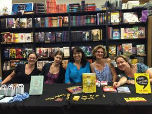 From left to right: Tara Dairman, Rebecca Behrens, me, Kari Ann Holt, and Jennifer Ziegler.
