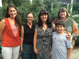 Authors Jenny Goebel, Tara Dairman, Ingrid Law, and me with my favorite 11 year old reader!