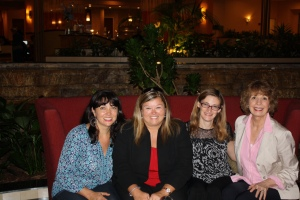 At the conference hotel with Alicia Trader, Kristin Levine, and Joan Bauer