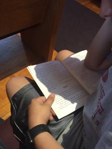 Drew reading DinoBoy