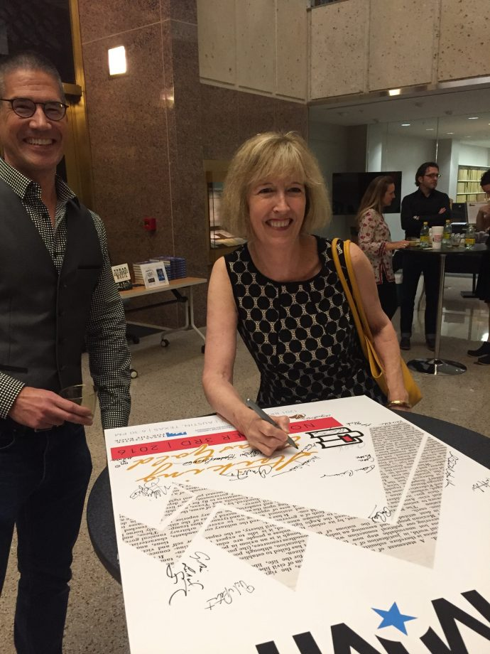 Author Anne Bustard, signing the big poster!
