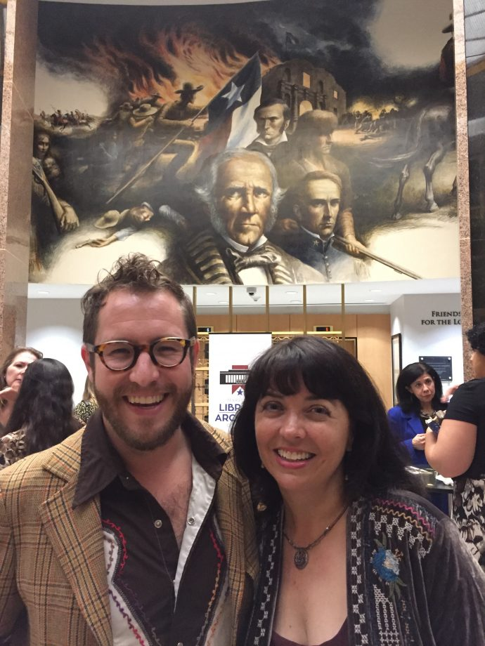 Me, Stephen Siwinski from the Texas Center for the Book, and Sam Houston behind us.