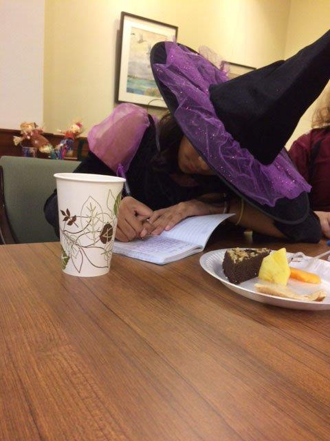 One of about 16 devoted writers, hard at work. They even had snacks!