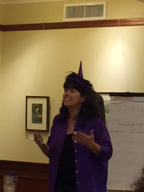 This is me, dressed as a witch, teaching a talented group of kids at the Rosenberg Library how to write a truly terrifying tale.
